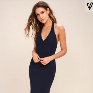 Lulu's Love Potion Halter Neck Navy Lace Gown 💙